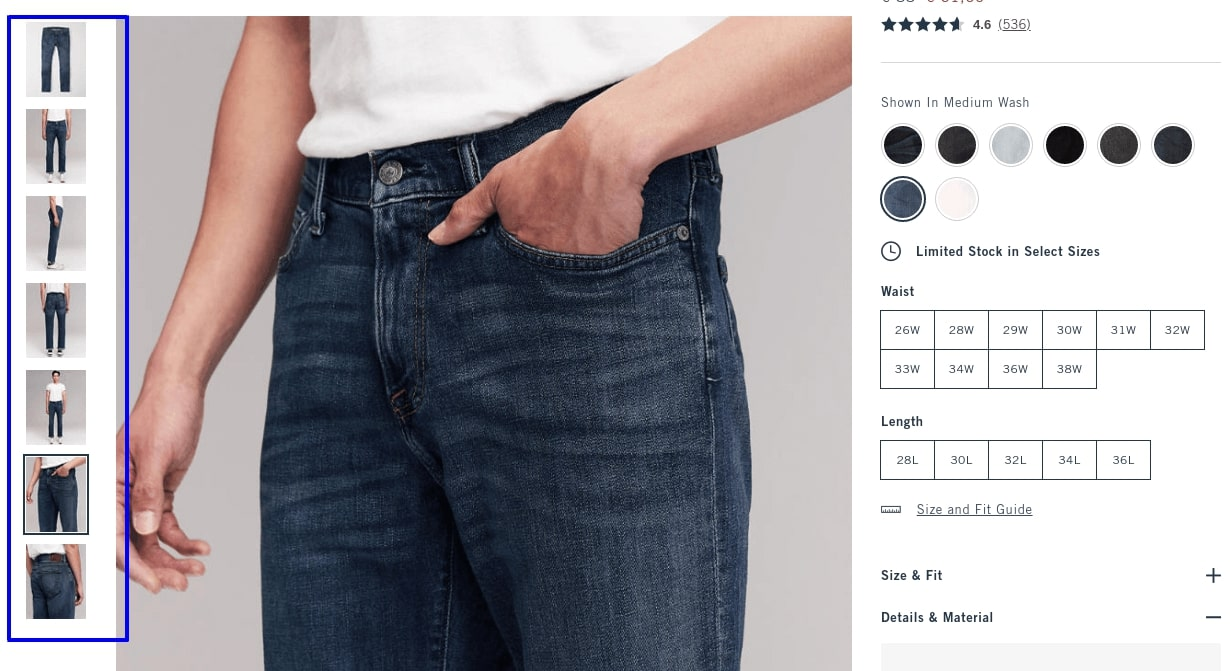 Photo of Abercrombie and Fitch cart page