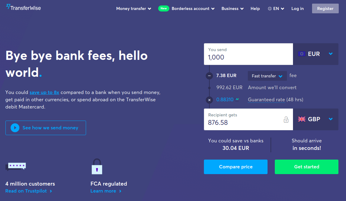 Addressing customer pain points example on TransferWise website