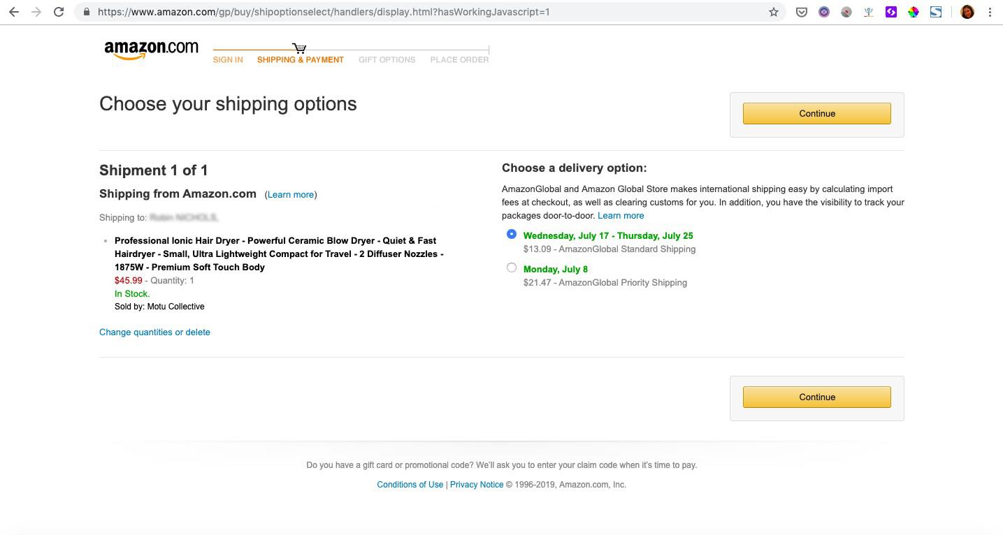 Amazon página de pago