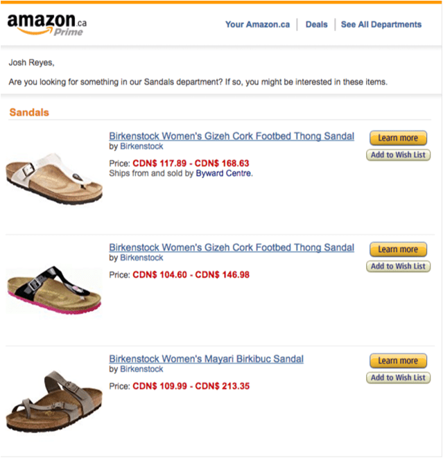 Amazon Email Recommended