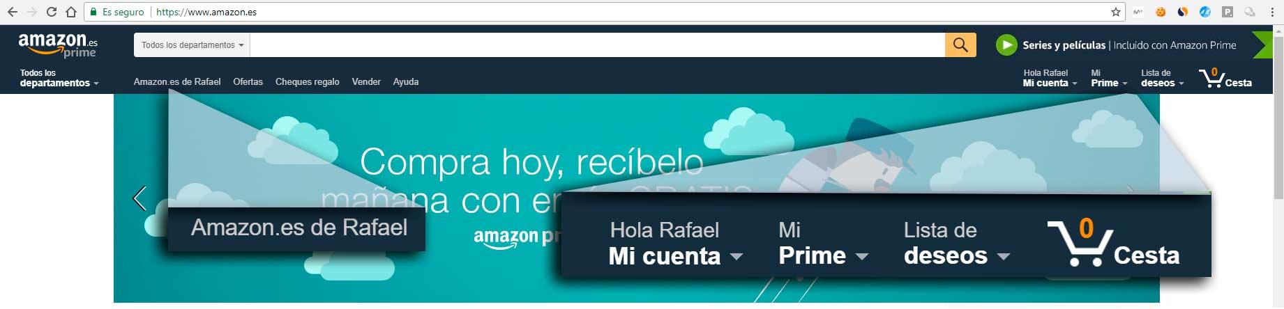 amazon personaliza la página inicial
