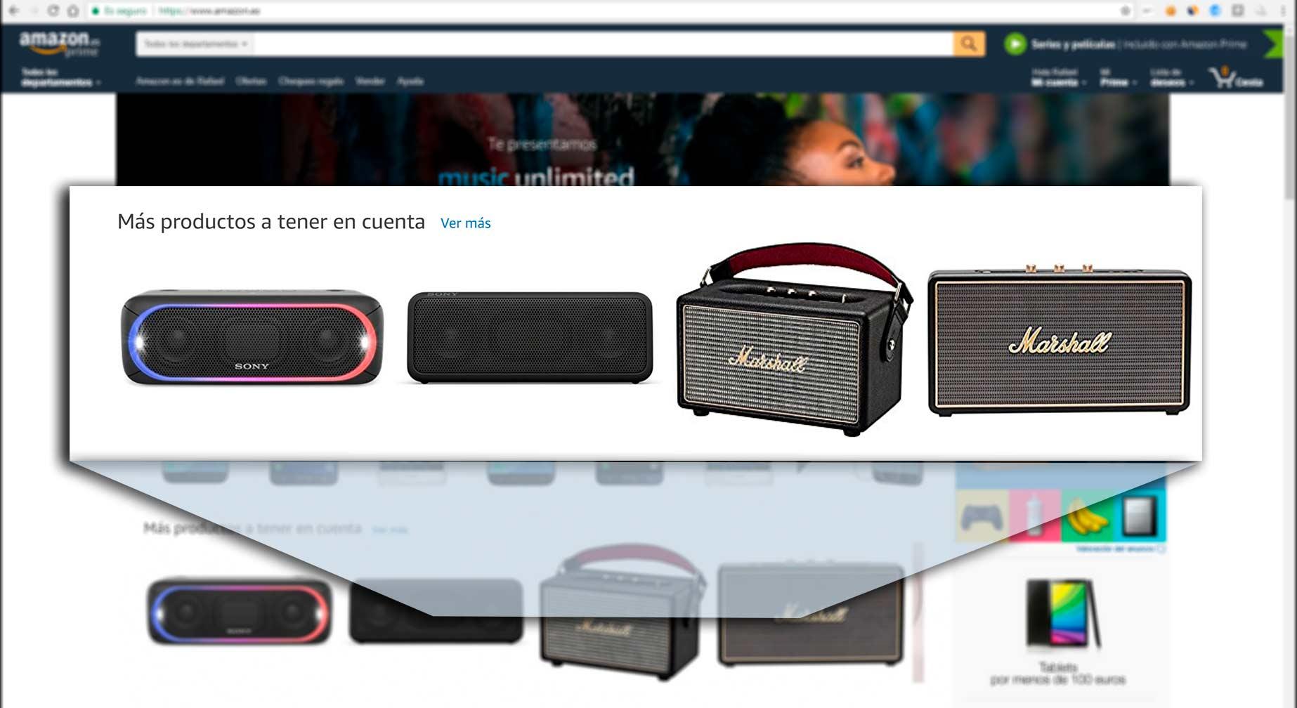 productos sugeridos personalizados por amazon