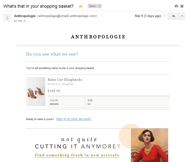 Anthropologie abandoned cart email
