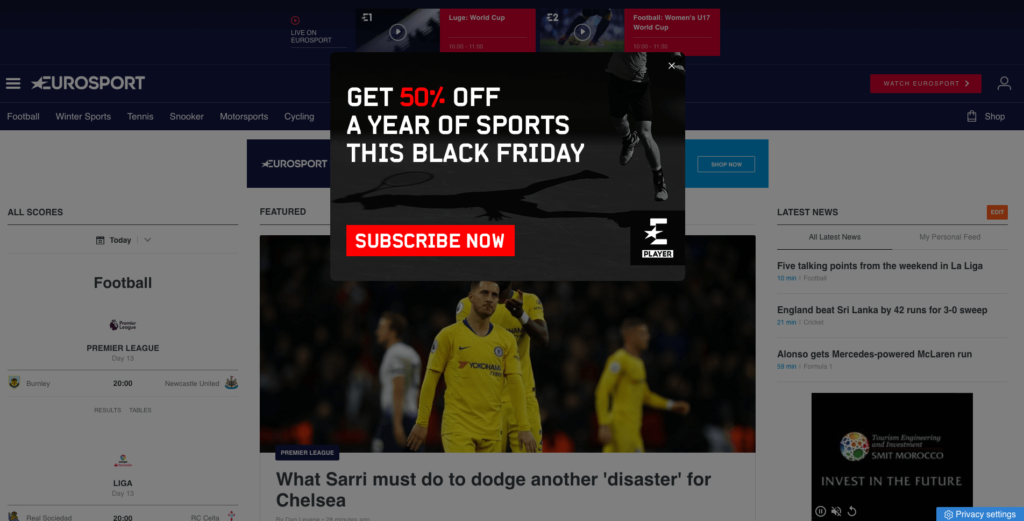 An example of a Black Friday pop in from Eurosport