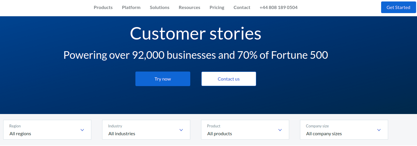 Social proof example on website