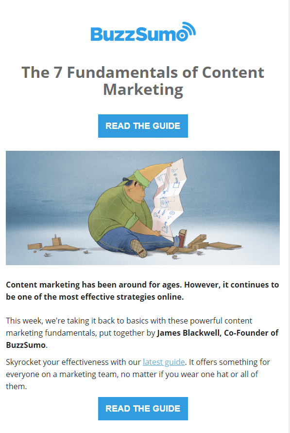 BuzzSumo clean email design layout