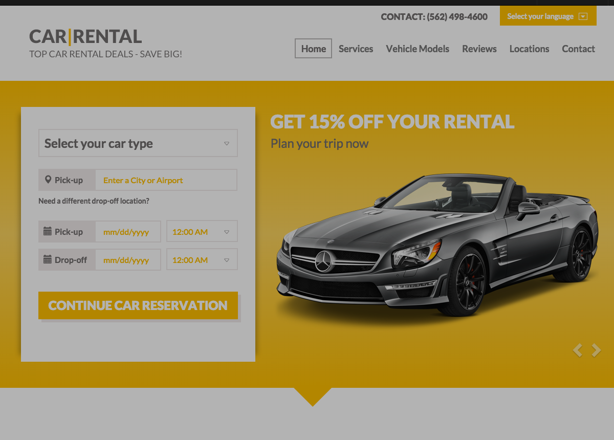 Car rental landing page template