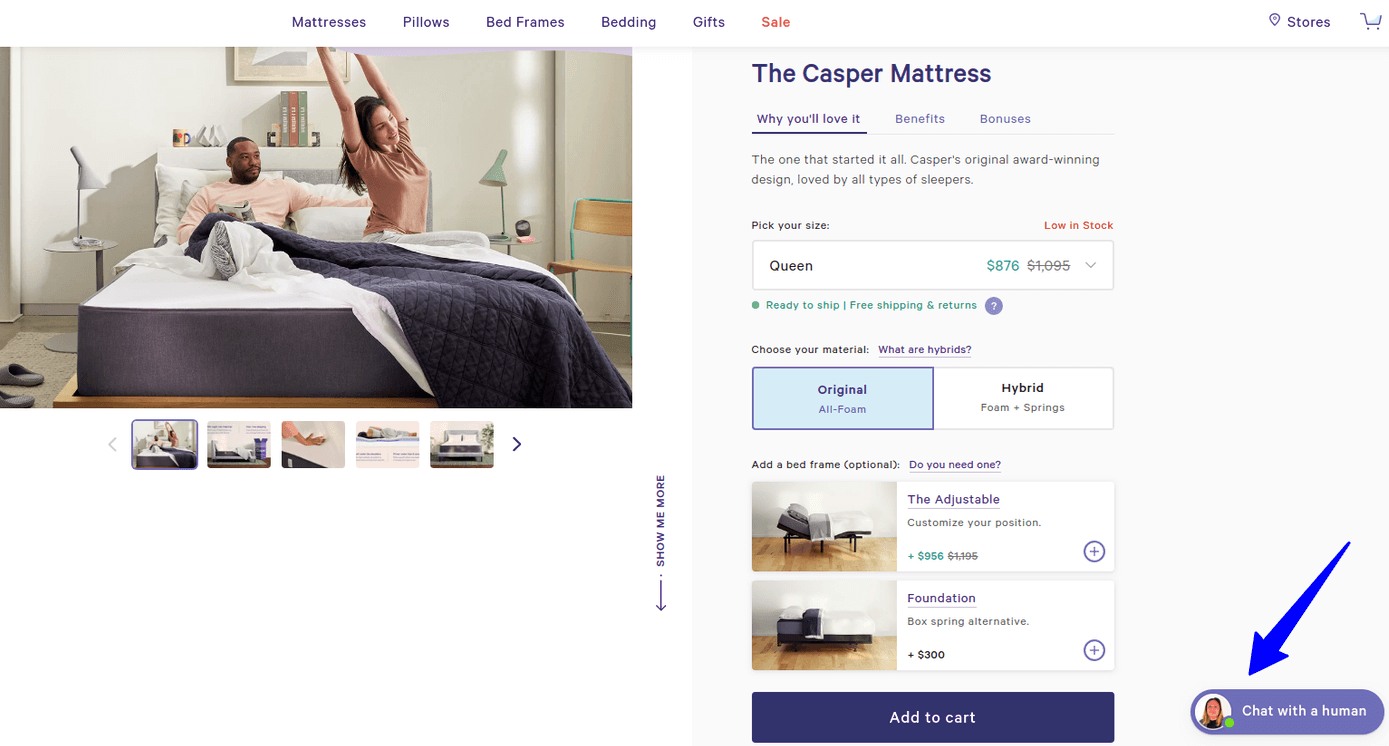Photo of Casper product page