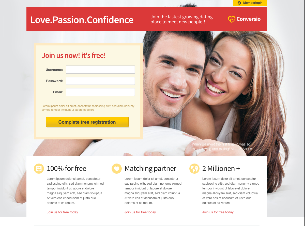 Social dating landing page template