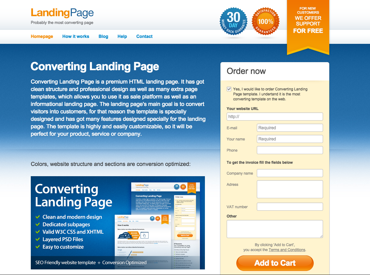 Converting landing page template