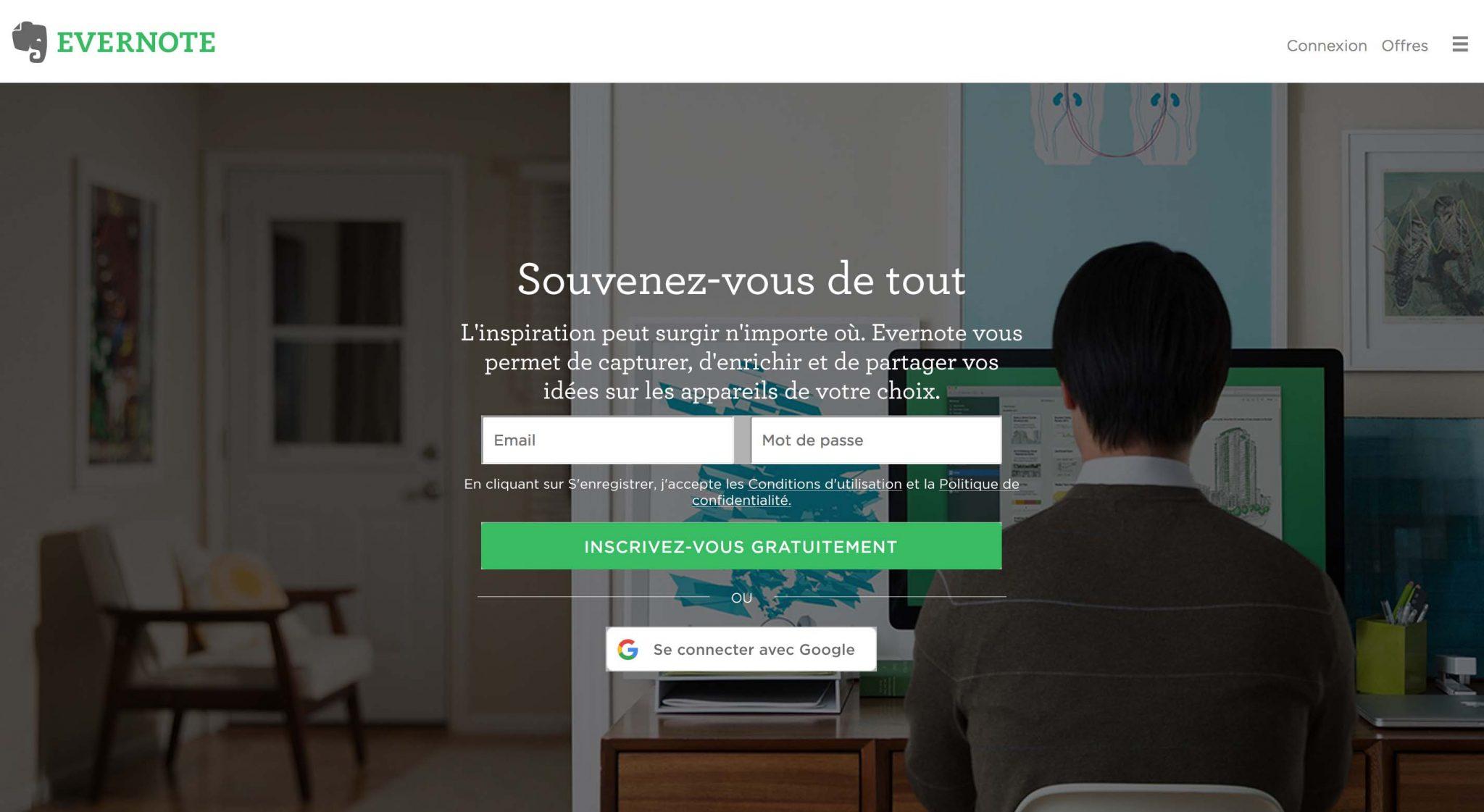 EVERNOTE Landing Page - Souvenez-vous de tout
