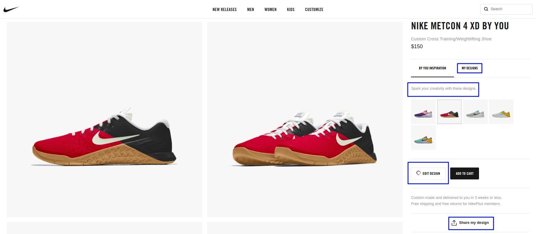 Example of customization - Nike