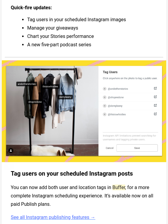 Freemium Buffer email updates to engage users