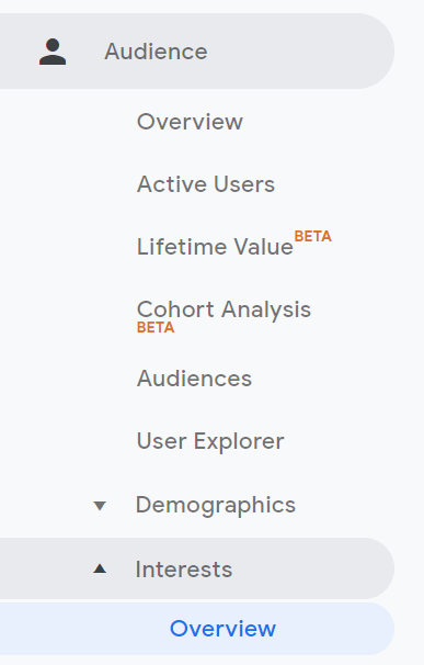 Google Analytics Audience Interests