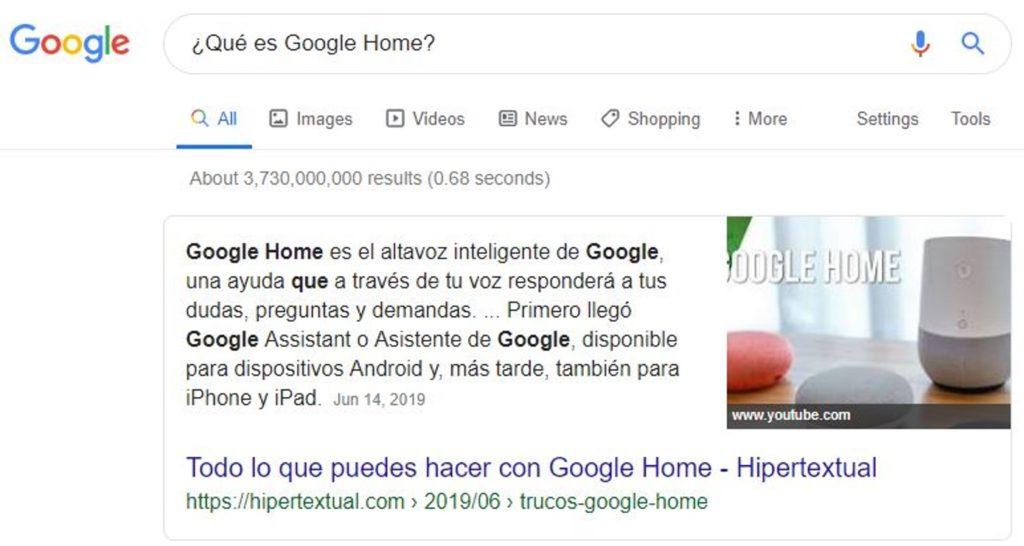 Búsquedas por voz con Google Home