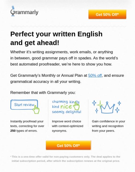 Grammarly freemium plan - create urgency with discounts (1)