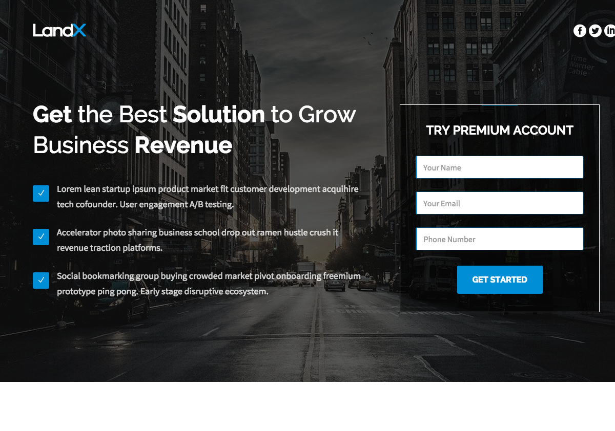 Growth landing page template