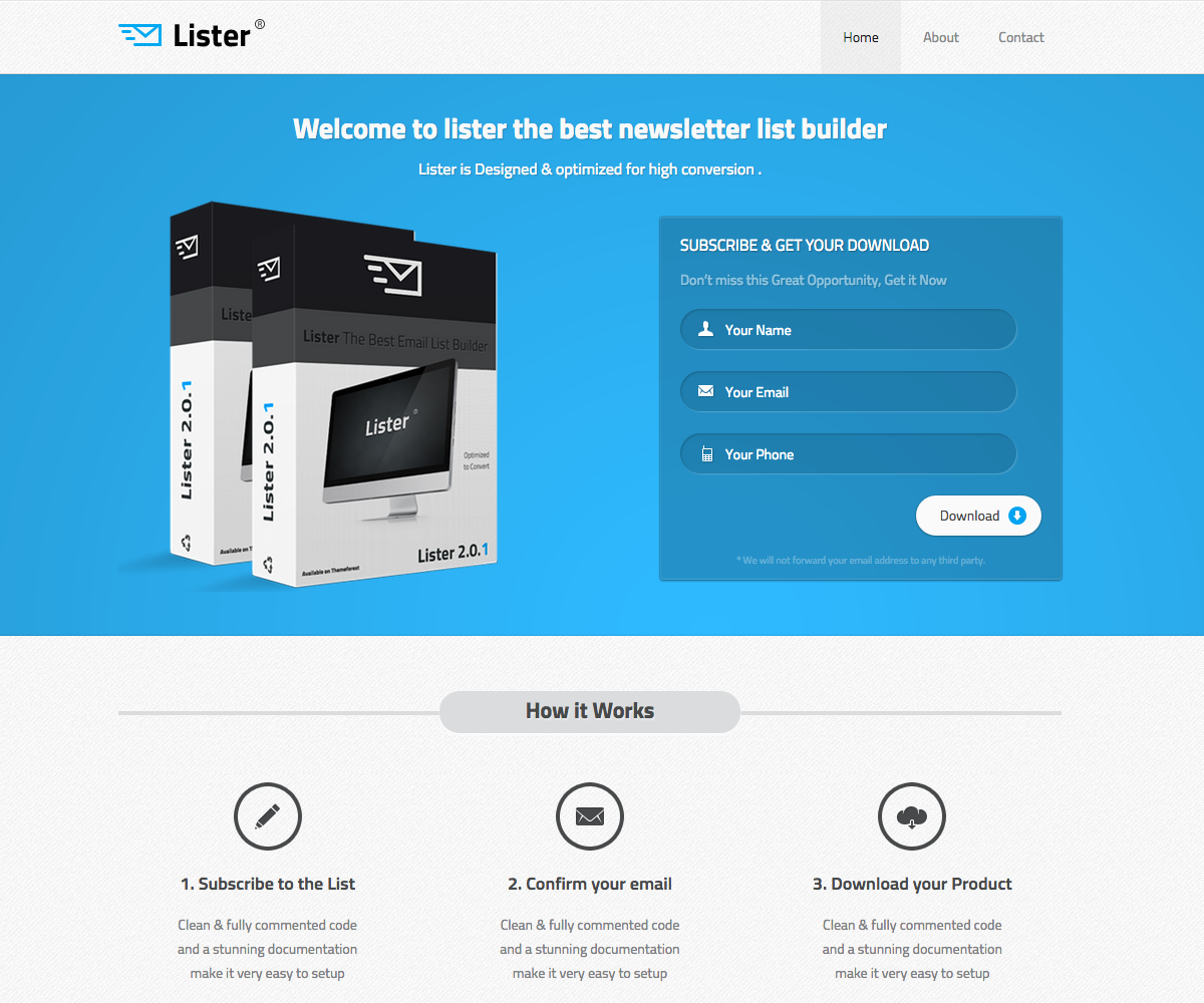 Ebook download landing page template