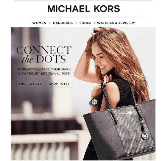 Michael Kors email - using suggestive directional cue to highlight CTA (1)