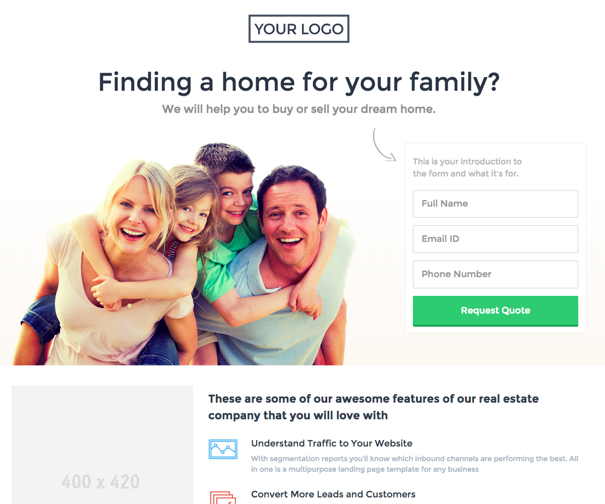 Home landing page template