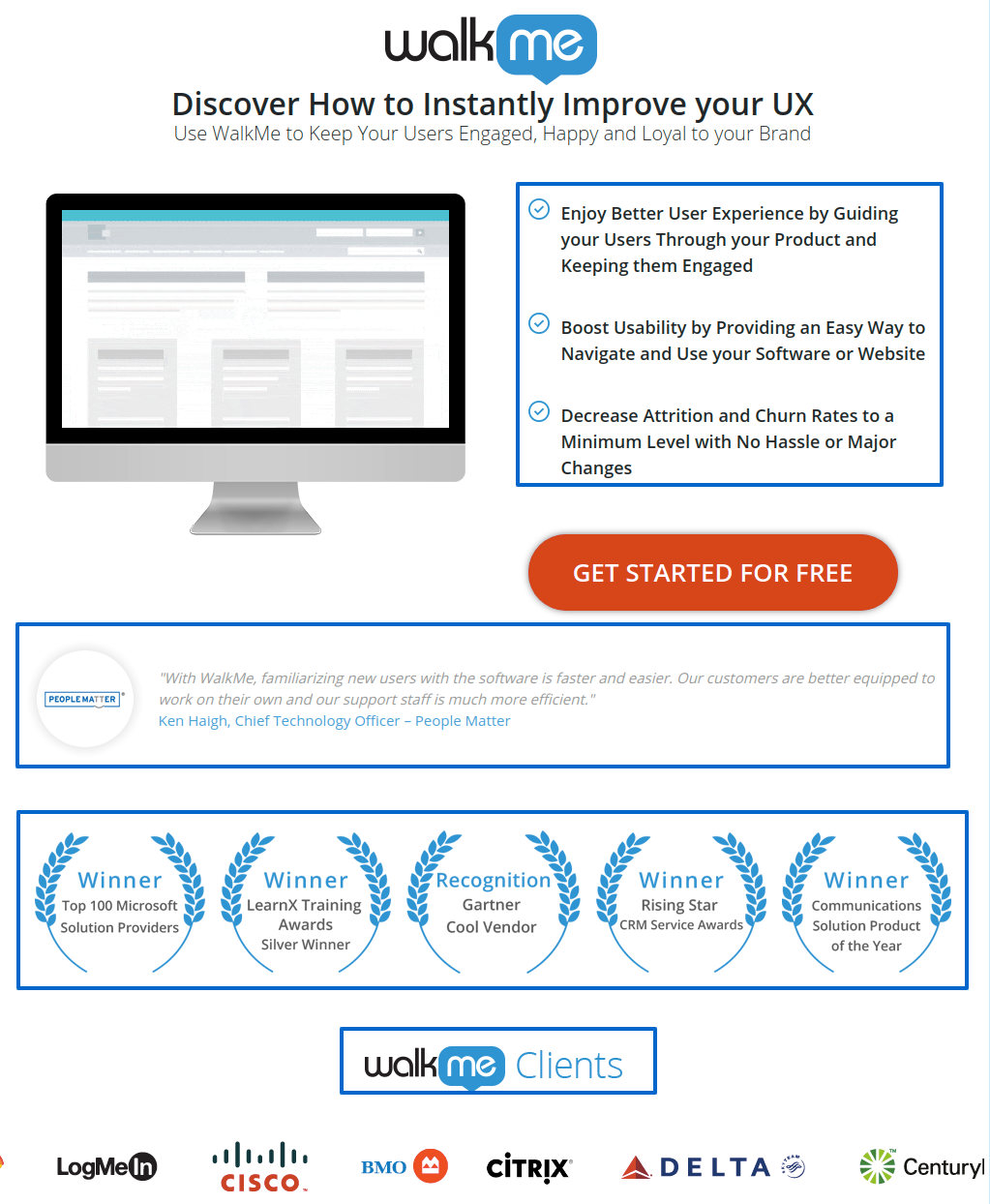 On a lead gen landing page, bullet list your offer's benefits
