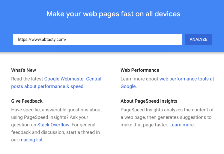 Page Speed Insight Tool