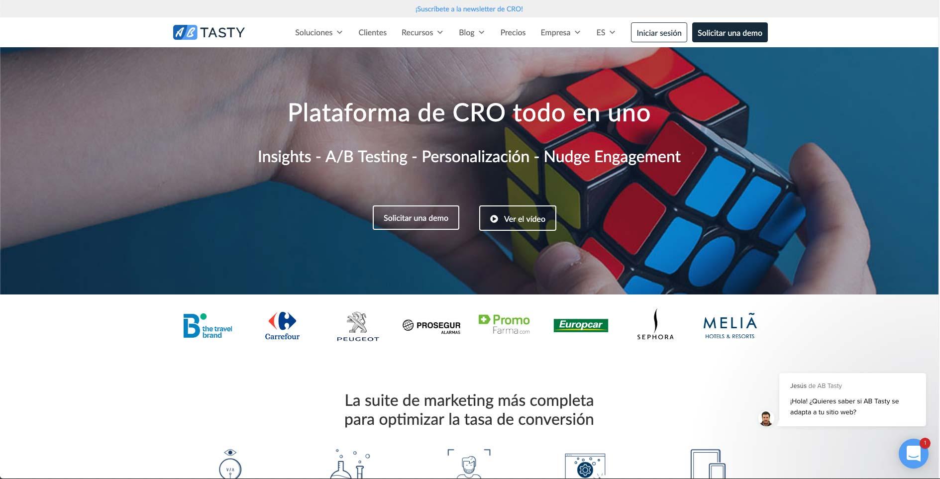 Página web de AB Tasty  optimizada para dispositivos de escritorio.