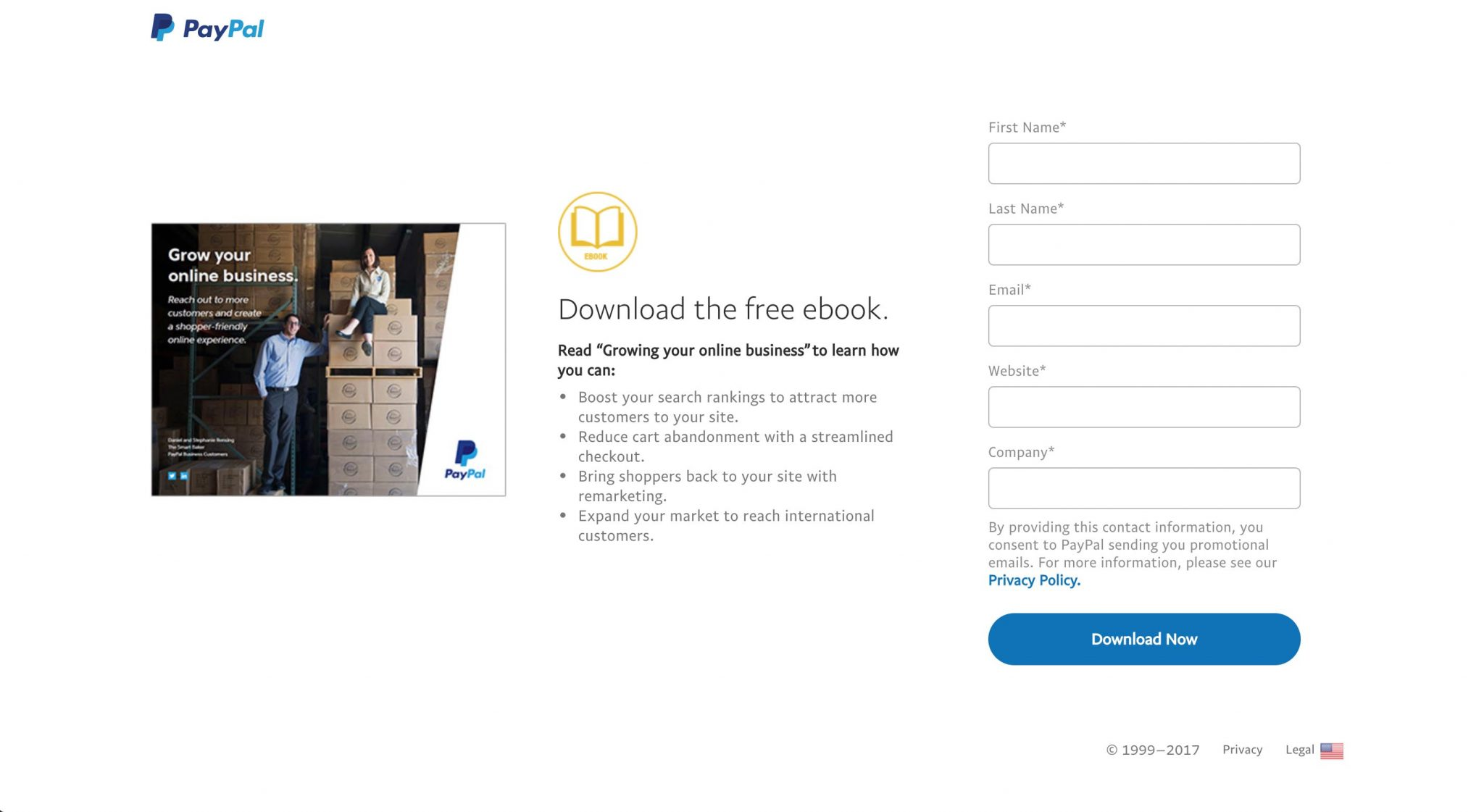 PAYPAL Landing page - Download the free ebook.