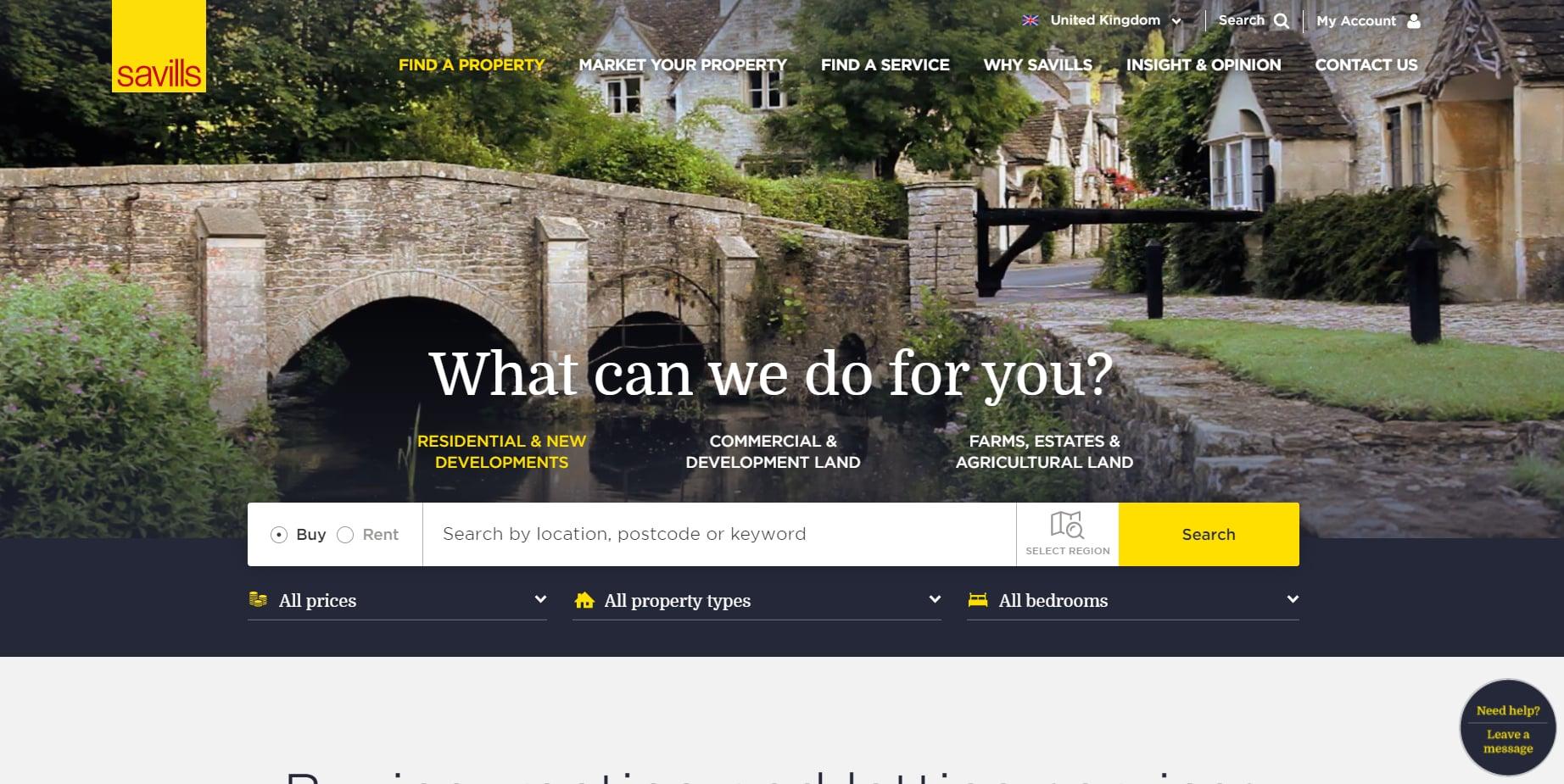 savills real estate landing page