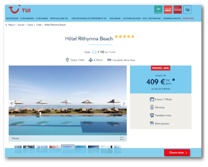 TUI product page