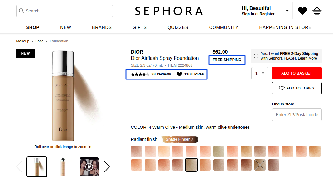 Sephora social proof example