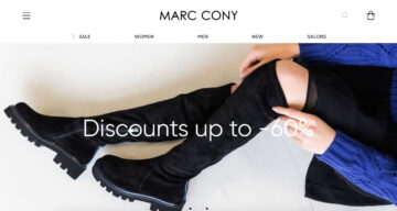 Marc Cony homepage highlighting discount information