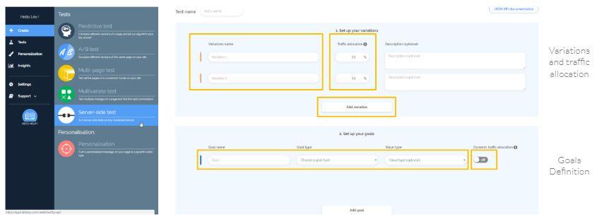 Dashboard para configurar test del lado del servidor