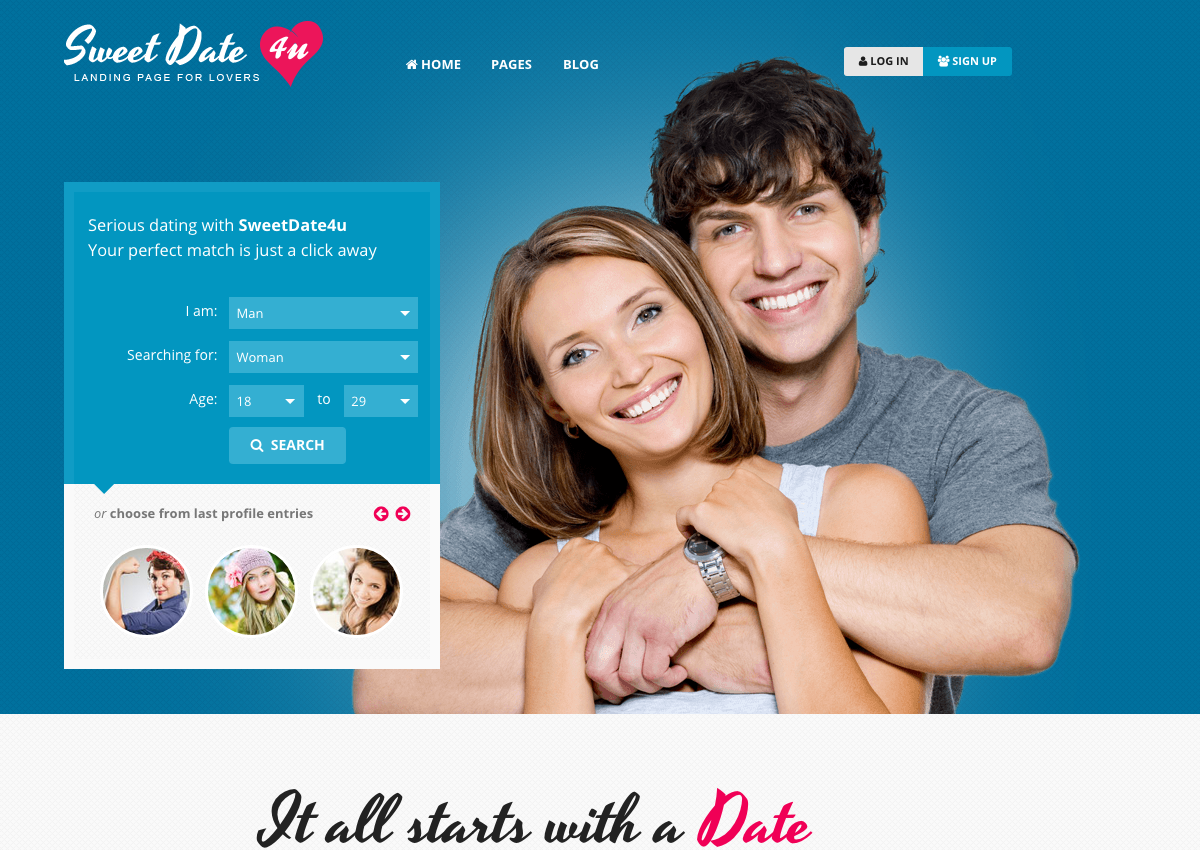 Dating landing page template