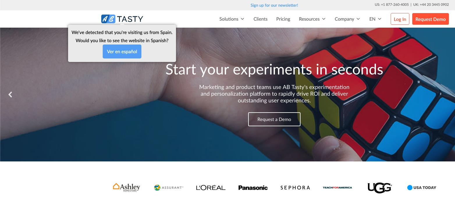 Campaña de personalización web de AB Tasty