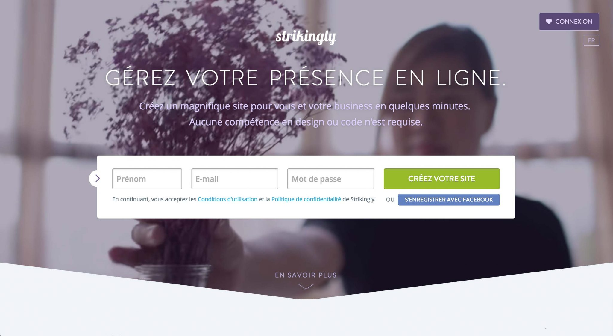 STRIKINGLY Landing page - Gérez votre présence en ligne
