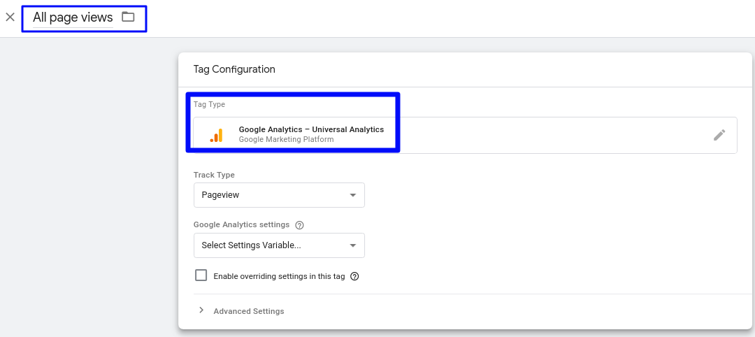 Tag name and tag configuration in GTM