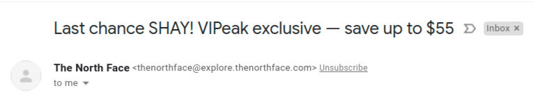 The North Face - using FOMO in email subject line