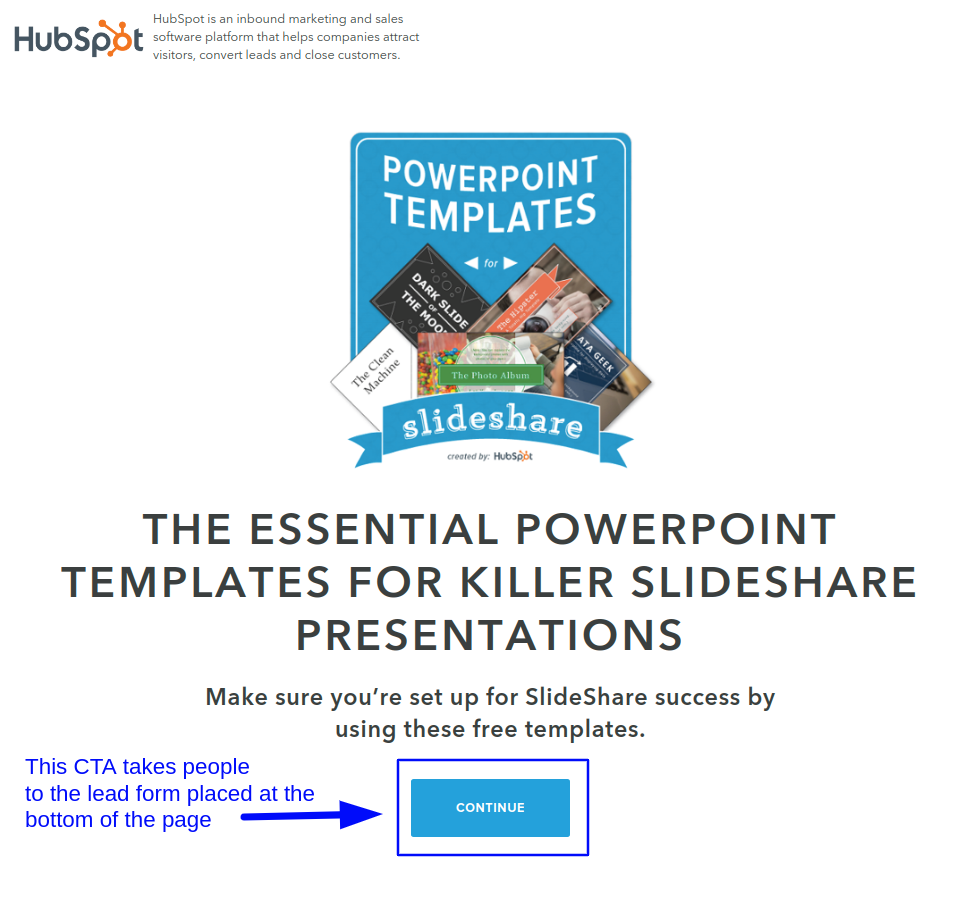 Use directional cues on a big lead generation landing page