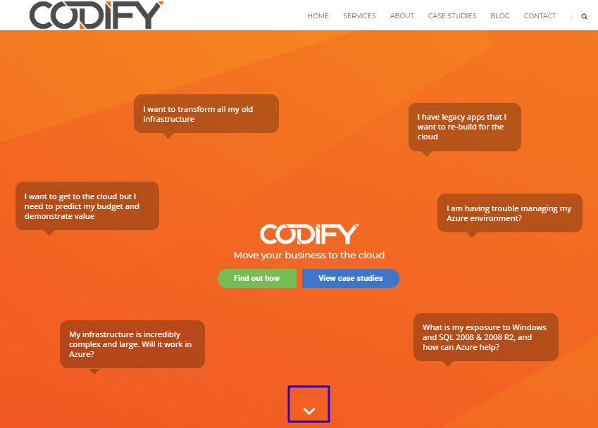 Using directional cue on codify web page