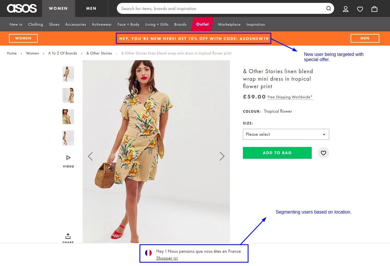 Using geolocation for personalization - ASOS