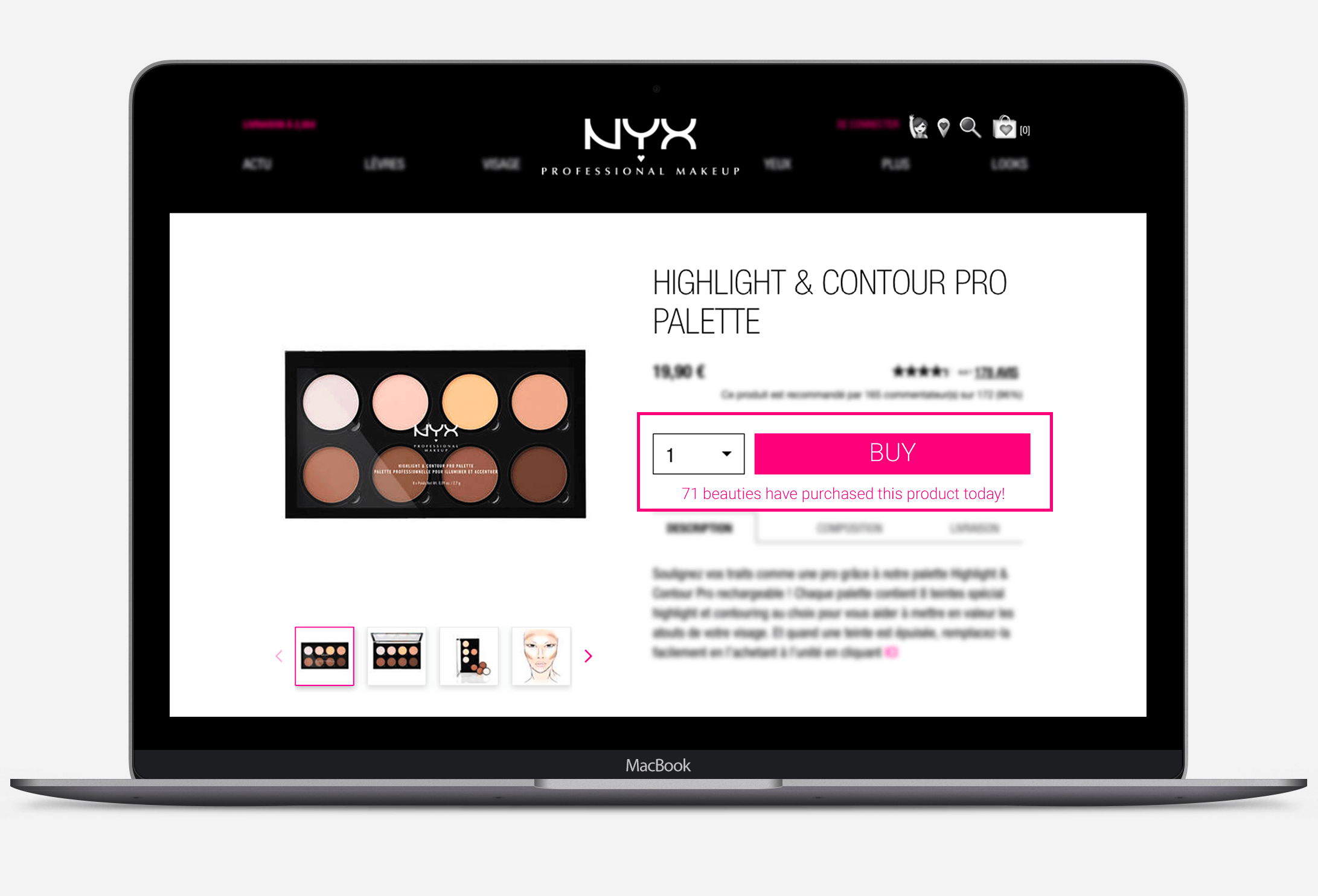 NYX Professional make up social proof messaging