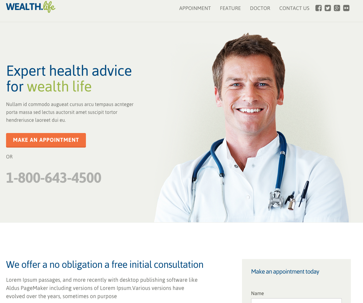 Health & medical landing page template
