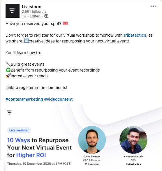 Webinar promotion on LinkedIn