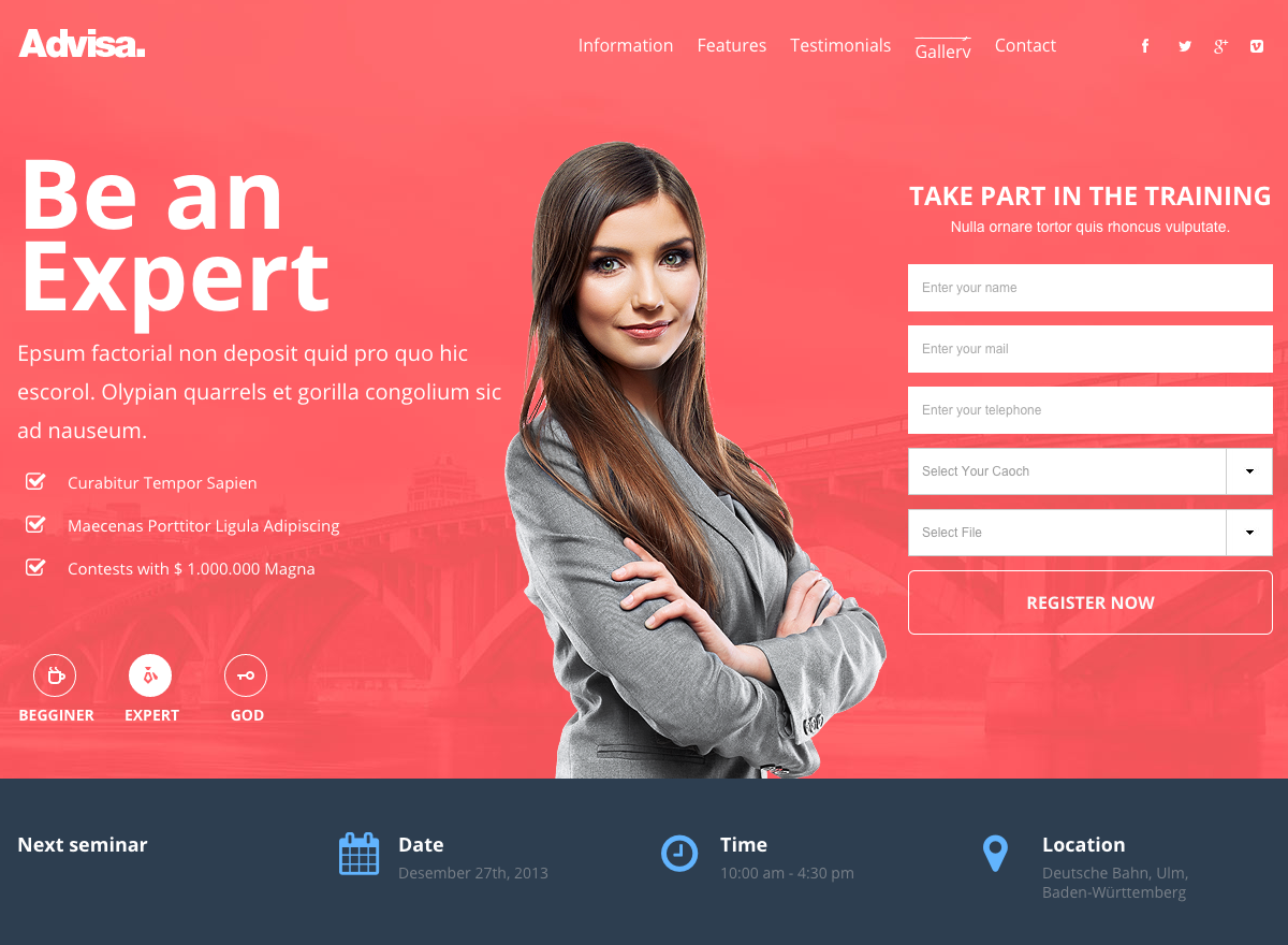 Services landing page template