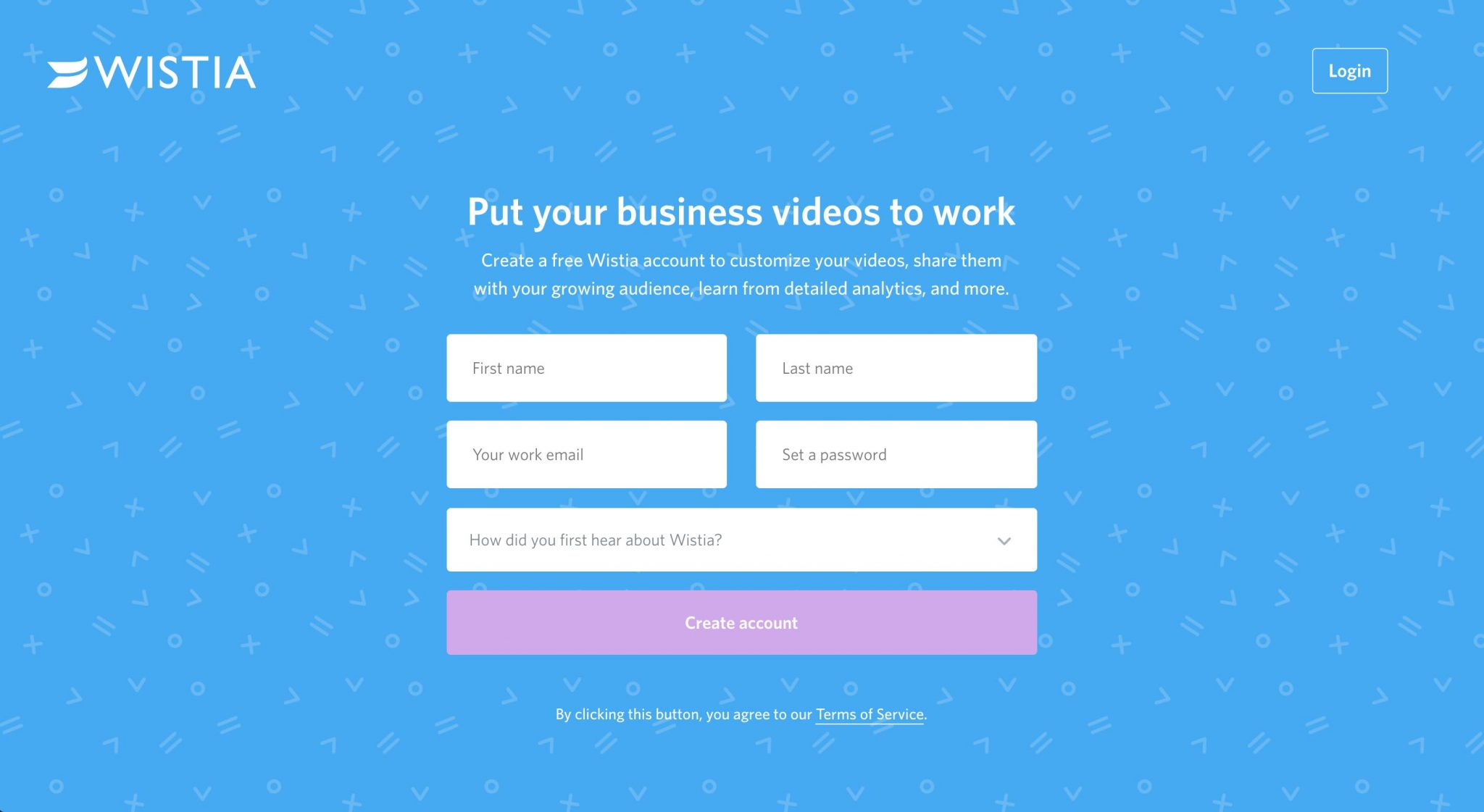 WISTIA Landing page - Put your business videos to work