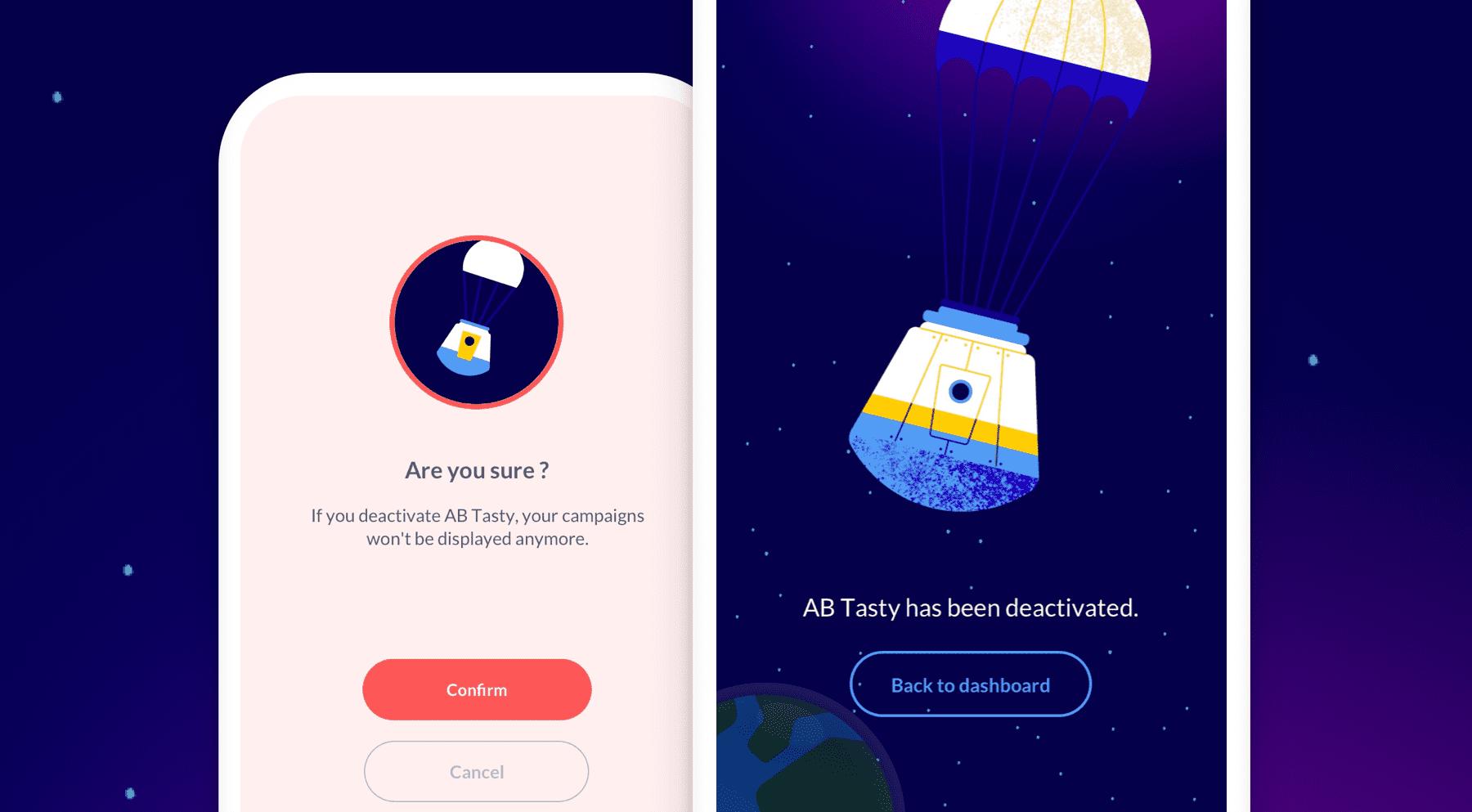 App móvil AB Tasty desactivado