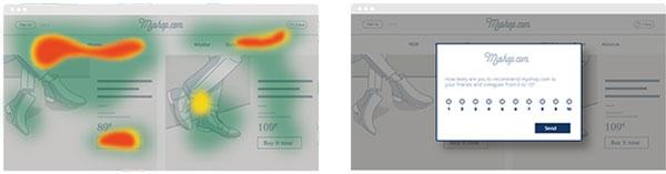 Imegen que muestra un mapa de calor a la izquierda y una encuesta NPS a la derecha