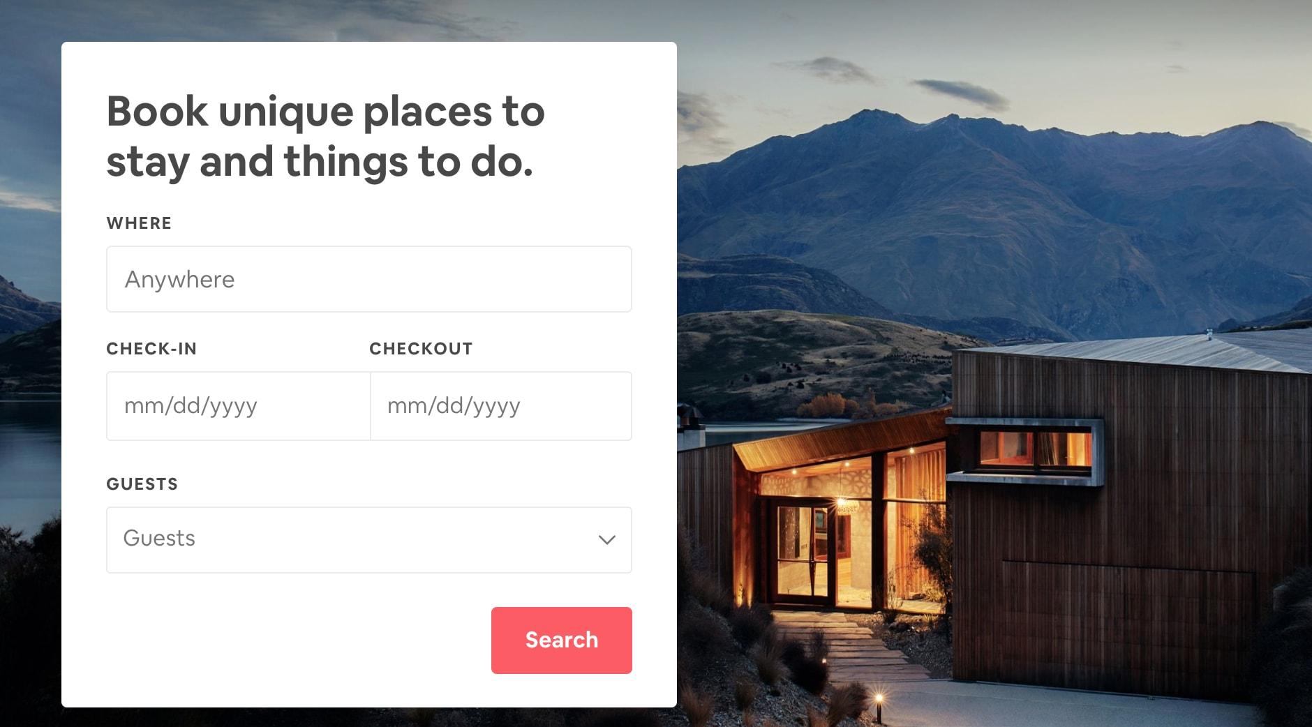 airbnb homepage header