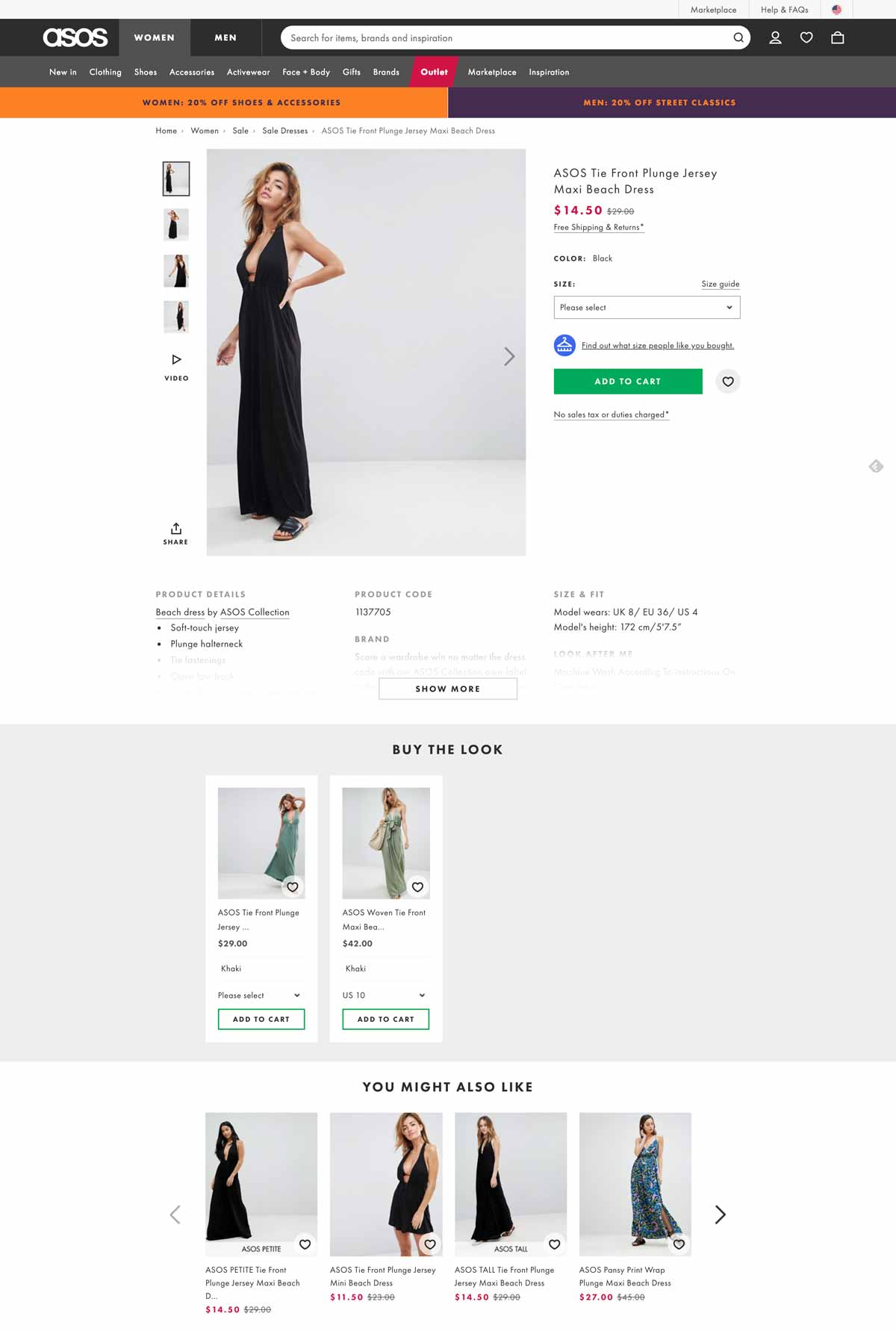 Ejemplo de página de producto de Asos